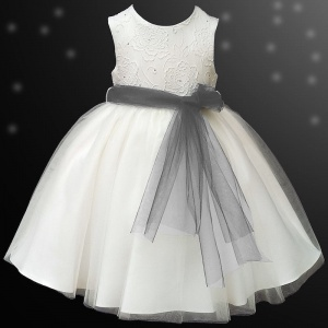 Girls Ivory Diamante & Organza Dress with Dark Grey Sash