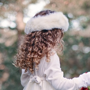 Girls Ivory Faux Fur Head Band