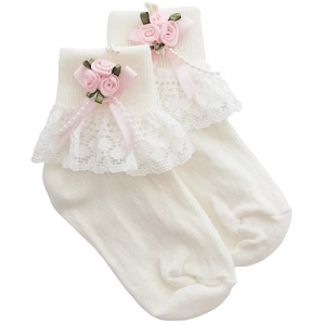 Girls Ivory Lace Socks with Baby Pink Rosebud Cluster