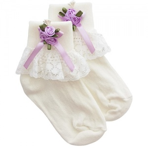 Girls Ivory Lace Socks with Lilac Rosebud Cluster