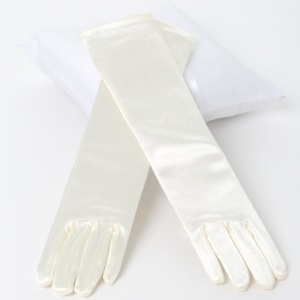 Girls Ivory Long Plain Satin Gloves