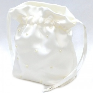 Girls Ivory Duchess Satin Pearl Dolly Bag