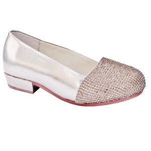 Girls Gold Sparkly Metallic Special Occasion Shoes