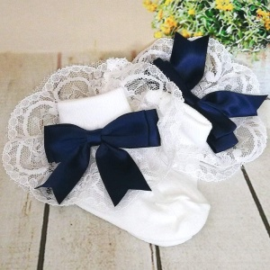 Girls White & Navy Large Satin Bow Lace Socks