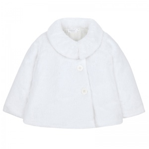 Girls White Faux Fur Long Sleeve Coat