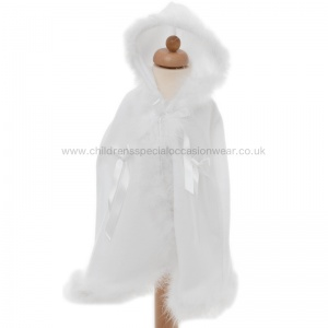 Baby Girls Luxury White Fleece Cape with Hood