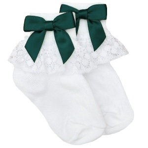 Girls White Lace Socks with Forest Green Satin Bows