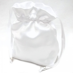 Girls White Plain Duchess Satin Dolly Bag