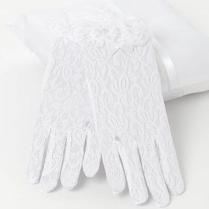 Girls White Short Lace Gloves