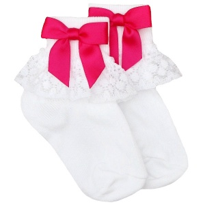 Girls White Lace Socks with Hot Pink Satin Bows