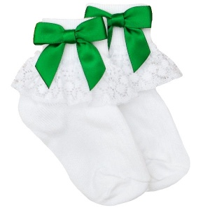 Girls White Lace Socks with Emerald Green Satin Bows