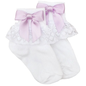 Girls White Lace Socks with Lilac Satin Bows