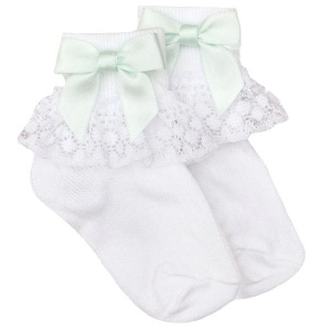 Girls White Lace Socks with Mint Green Satin Bows