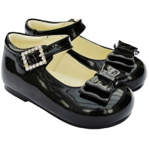 Girls Black Patent Double Bow Special Occasion Shoes