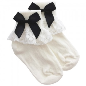 Girls Ivory Lace Socks with Black Satin Bows