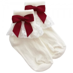 Girls Ivory Lace Socks with Burgundy Satin Bows