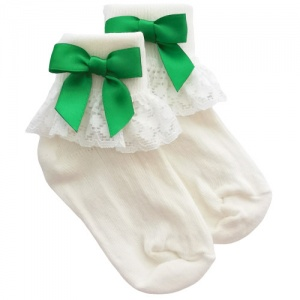 Girls Ivory Lace Socks with Emerald Green Satin Bows