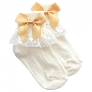 Girls Ivory Lace Socks with Gold Satin Bows
