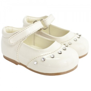 Girls Ivory Patent 'Fairy' Diamante Special Occasion Shoes