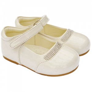 Girls Ivory Patent 'Princess' Diamante Special Occasion Shoes