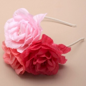 Girls Pink Triple Petal Rose Alice Head Band