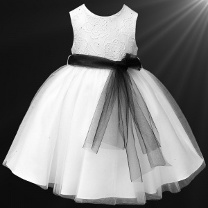 Girls White Diamante & Organza Dress with Black Sash