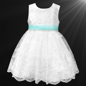 Girls White Floral Lace Dress with Aqua Organza Sash