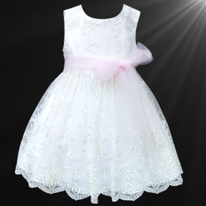 Girls White Floral Lace Dress with Baby Pink Organza Sash