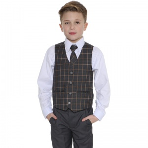 Boys Grey & Orange Check 4 Piece Waistcoat Suit