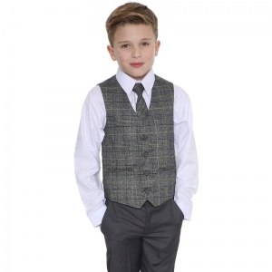 Boys Grey & Tartan Tweed Blue Check 4 Piece Suit