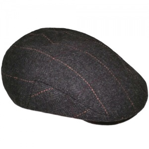 Boys Dark Grey Tweed Check Flat Cap