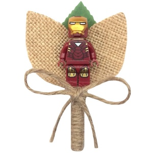 Boys Iron Man Hessian & Twine Rustic Buttonhole