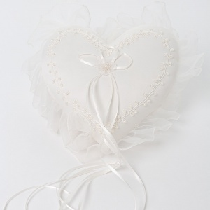 Ivory Beaded Heart Shaped Satin Ring Cushion