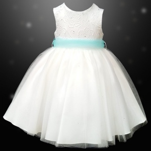 Girls Ivory Diamante & Organza Dress with Aqua Sash