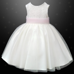 Girls Ivory Diamante & Organza Pink Sash Dress
