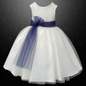 Girls Ivory Diamante & Organza Navy Sash Dress