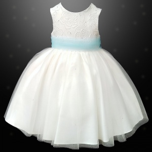 Girls Ivory Diamante & Organza Sky Blue Sash Dress