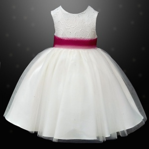 Girls Ivory Diamante & Organza Dress with Wine Sash