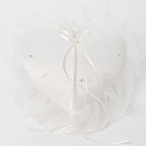 Ivory Floral Heart Shaped Satin Ring Cushion