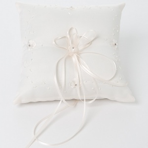Ivory Floral Beaded Square Satin Ring Cushion