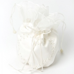 Girls Ivory Duchess Satin Beaded Heart Dolly Bag