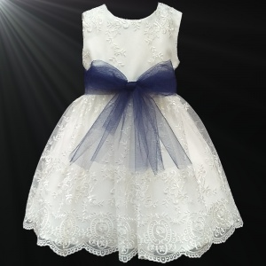 Girls Ivory Floral Lace Dress with Navy Organza Sash