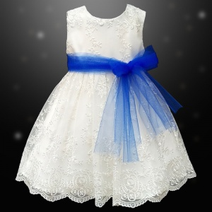 Girls Ivory Floral Lace Dress with Royal Blue Organza Sash