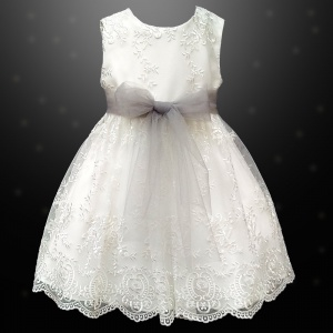 Girls Ivory Floral Lace Dress with Silver Organza Sash