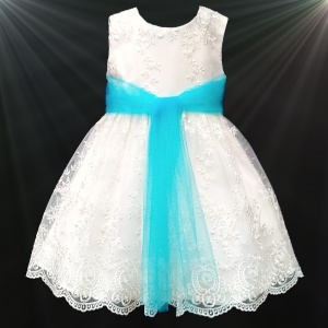 Girls Ivory Floral Lace Dress with Turquoise Organza Sash