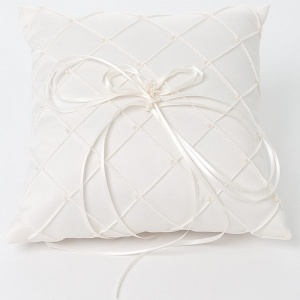 Ivory Bead Quilted Square Satin Ring Cushion