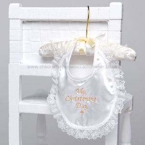 Ivory Lace & Satin My Christening Day Bib