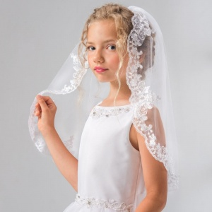 Girls Lace, Pearls & Silver Thread Communion Veil by Lacey Bell Style LV20P