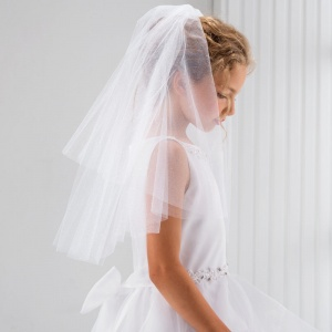 Girls Glitter Tulle Cut Edge Communion Veil by Lacey Bell Style CV92