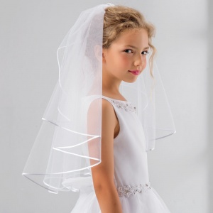 Girls Soft Tulle Satin Edge Communion Veil by Lacey Bell Style SV41